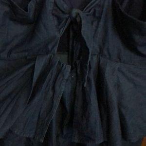 Eloquii Dresses - Eloquii peplum denim-look dress with back bow